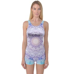 India Mehndi Style Mandala   Cyan Lilac One Piece Boyleg Swimsuit