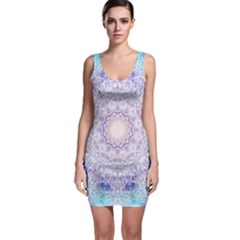 India Mehndi Style Mandala   Cyan Lilac Sleeveless Bodycon Dress