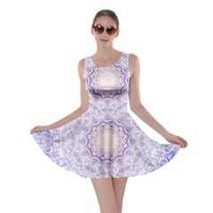 India Mehndi Style Mandala   Cyan Lilac Skater Dress