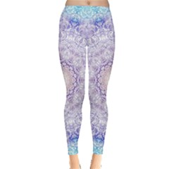 India Mehndi Style Mandala   Cyan Lilac Leggings