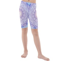 India Mehndi Style Mandala   Cyan Lilac Kids  Mid Length Swim Shorts