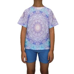 India Mehndi Style Mandala   Cyan Lilac Kids  Short Sleeve Swimwear