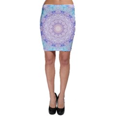 India Mehndi Style Mandala   Cyan Lilac Bodycon Skirt