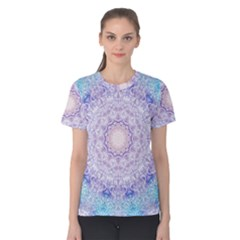 India Mehndi Style Mandala   Cyan Lilac Women s Cotton Tee