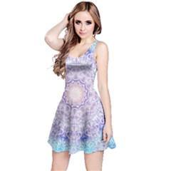 India Mehndi Style Mandala   Cyan Lilac Reversible Sleeveless Dress