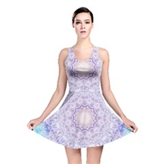 India Mehndi Style Mandala   Cyan Lilac Reversible Skater Dress