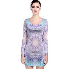 India Mehndi Style Mandala   Cyan Lilac Long Sleeve Bodycon Dress