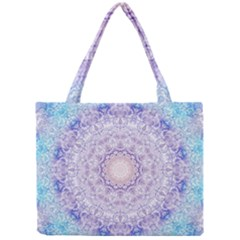 India Mehndi Style Mandala   Cyan Lilac Mini Tote Bag