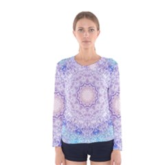 India Mehndi Style Mandala   Cyan Lilac Women s Long Sleeve Tee
