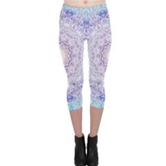 India Mehndi Style Mandala   Cyan Lilac Capri Leggings