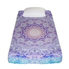 India Mehndi Style Mandala   Cyan Lilac Fitted Sheet (Single Size)