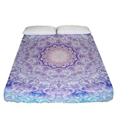 India Mehndi Style Mandala   Cyan Lilac Fitted Sheet (Queen Size)