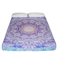 India Mehndi Style Mandala   Cyan Lilac Fitted Sheet (King Size)