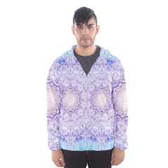 India Mehndi Style Mandala   Cyan Lilac Hooded Wind Breaker (Men)