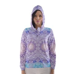 India Mehndi Style Mandala   Cyan Lilac Hooded Wind Breaker (Women)