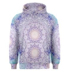 India Mehndi Style Mandala   Cyan Lilac Men s Pullover Hoodie