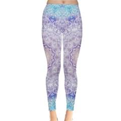 India Mehndi Style Mandala   Cyan Lilac Classic Winter Leggings