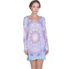 India Mehndi Style Mandala   Cyan Lilac Long Sleeve Nightdress