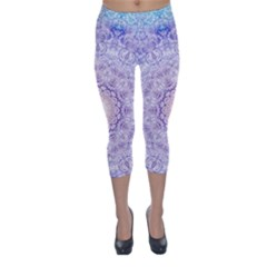 India Mehndi Style Mandala   Cyan Lilac Capri Winter Leggings