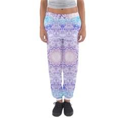 India Mehndi Style Mandala   Cyan Lilac Women s Jogger Sweatpants
