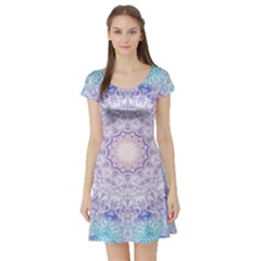 India Mehndi Style Mandala   Cyan Lilac Short Sleeve Skater Dress