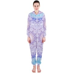 India Mehndi Style Mandala   Cyan Lilac Hooded Jumpsuit (Ladies)