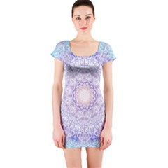 India Mehndi Style Mandala   Cyan Lilac Short Sleeve Bodycon Dress