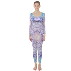 India Mehndi Style Mandala   Cyan Lilac Long Sleeve Catsuit
