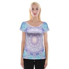 India Mehndi Style Mandala   Cyan Lilac Women s Cap Sleeve Top