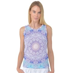 India Mehndi Style Mandala   Cyan Lilac Women s Basketball Tank Top