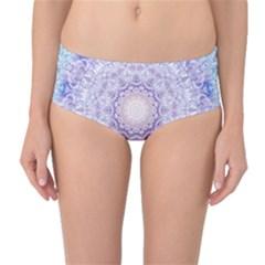 India Mehndi Style Mandala   Cyan Lilac Mid-Waist Bikini Bottoms