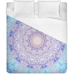 India Mehndi Style Mandala   Cyan Lilac Duvet Cover (California King Size)