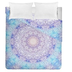 India Mehndi Style Mandala   Cyan Lilac Duvet Cover Double Side (Queen Size)