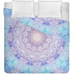 India Mehndi Style Mandala   Cyan Lilac Duvet Cover Double Side (King Size)