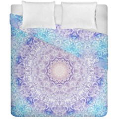 India Mehndi Style Mandala   Cyan Lilac Duvet Cover Double Side (California King Size)