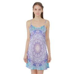 India Mehndi Style Mandala   Cyan Lilac Satin Night Slip