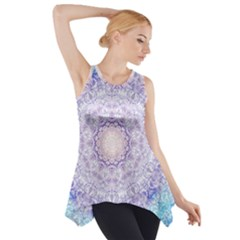 India Mehndi Style Mandala   Cyan Lilac Side Drop Tank Tunic