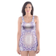 India Mehndi Style Mandala   Cyan Lilac Skater Dress Swimsuit