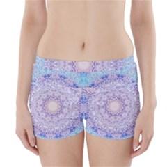 India Mehndi Style Mandala   Cyan Lilac Boyleg Bikini Wrap Bottoms