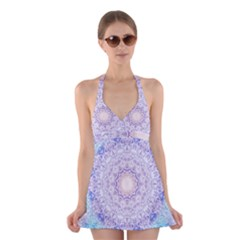 India Mehndi Style Mandala   Cyan Lilac Halter Swimsuit Dress