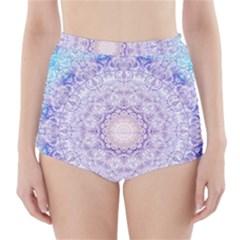 India Mehndi Style Mandala   Cyan Lilac High-Waisted Bikini Bottoms