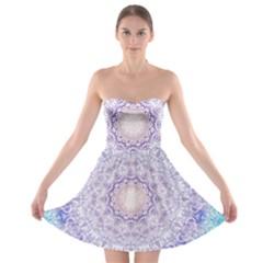 India Mehndi Style Mandala   Cyan Lilac Strapless Bra Top Dress