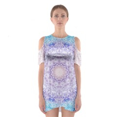 India Mehndi Style Mandala   Cyan Lilac Shoulder Cutout One Piece