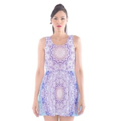 India Mehndi Style Mandala   Cyan Lilac Scoop Neck Skater Dress
