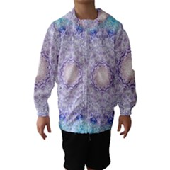 India Mehndi Style Mandala   Cyan Lilac Hooded Wind Breaker (Kids)