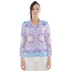 India Mehndi Style Mandala   Cyan Lilac Wind Breaker (Women)