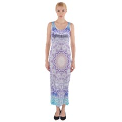 India Mehndi Style Mandala   Cyan Lilac Fitted Maxi Dress