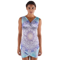 India Mehndi Style Mandala   Cyan Lilac Wrap Front Bodycon Dress