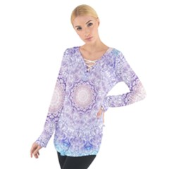 India Mehndi Style Mandala   Cyan Lilac Women s Tie Up Tee
