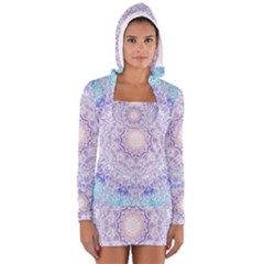India Mehndi Style Mandala   Cyan Lilac Women s Long Sleeve Hooded T-shirt